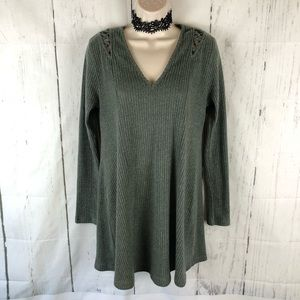 Green ribbed knit sweater dress
